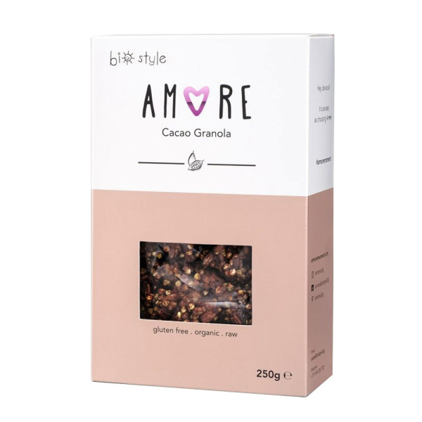 Cereale Granola Organică Raw cu Cacao, Fara Gluten, Amore-Biostyle, Eco, 250 gr.