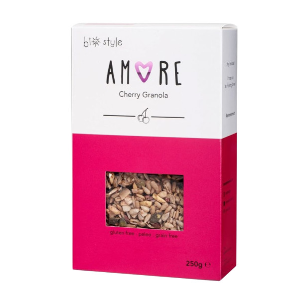 Cereale Granola Organică Raw cu Cirese, Fara Gluten, Amore-Biostyle, Eco, 250 gr.