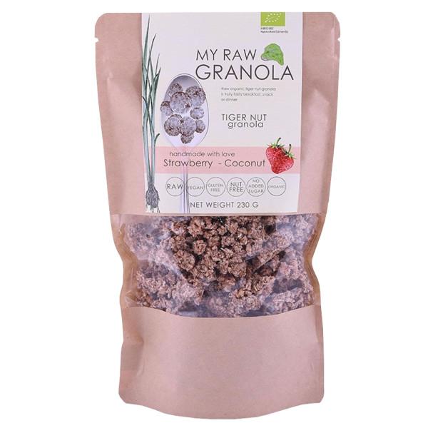 Cereale Granola Raw din Tigernut cu Capsuni si Cocos, Fara Gluten, My Raw Granola, Eco, 230 gr