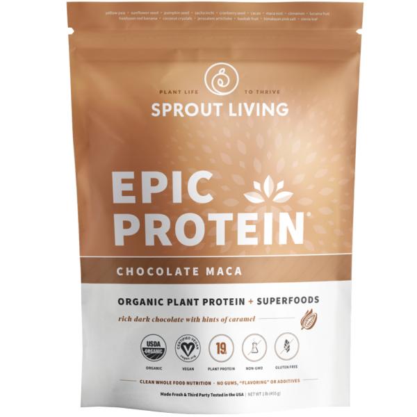 Pudra proteica Vegana 100% naturala cu Ciocolata si Maca, fara Gluten, Epic Protein, Eco, 455 gr