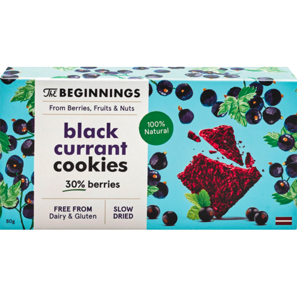 Biscuiti Vegani cu Coacaze Negre, fara Gluten, The Beginnings, 80 gr